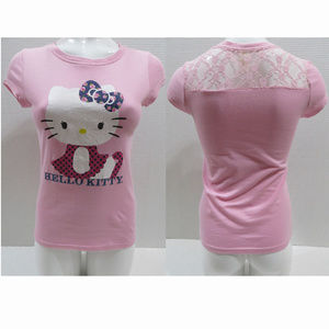 Hello Kitty top Small graphic glitter floral lace